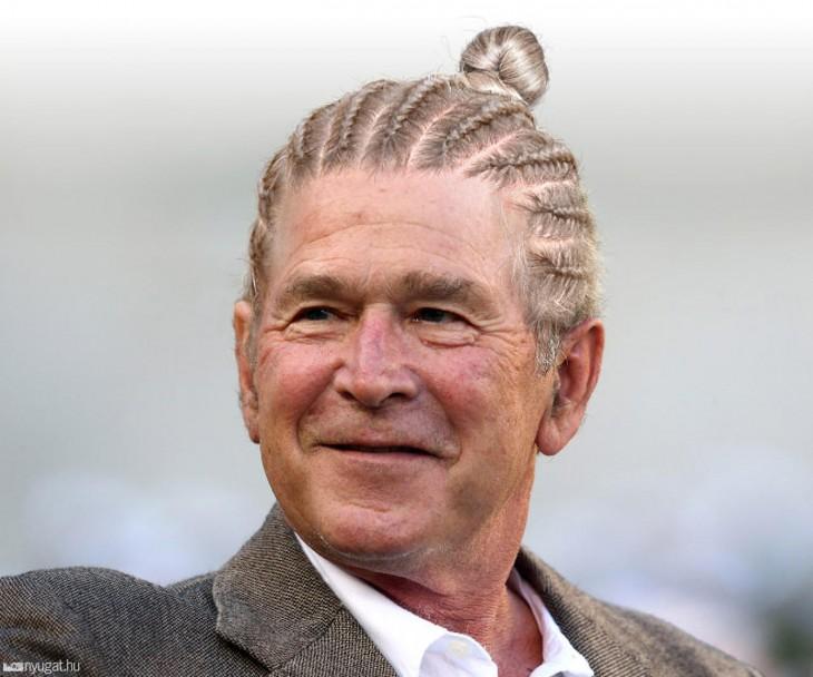 George W Bush con trencitas en el cabello y un chongo