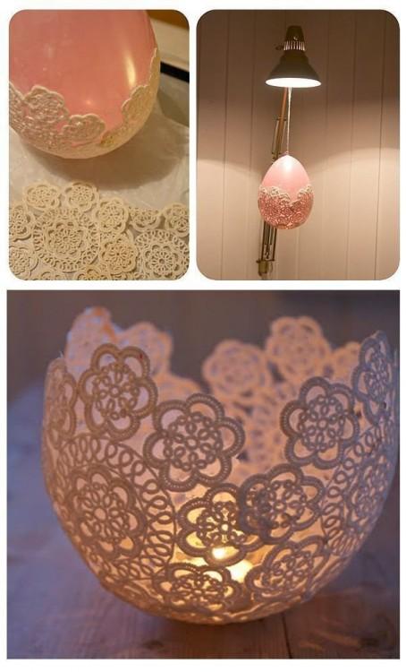 tapetes hechos con un globo para poner velas