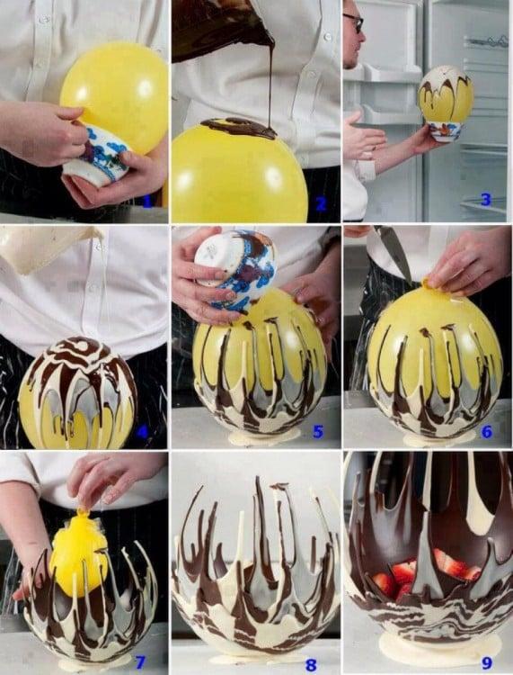 procedimiento para hacer un bowl de chocolate sobre un globo