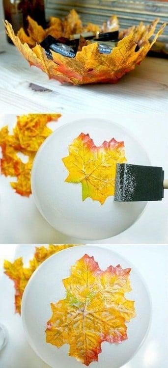 Bowl hecho con hojas secas