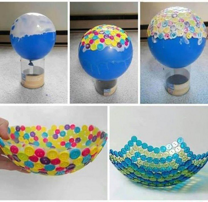 fotos que muestran los pasos para hacer un bowl con botones sobre un globo