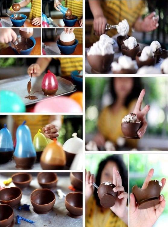cuencos de chocolate hechos con globos pequeños