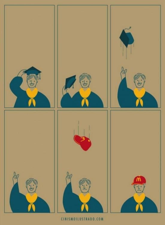 ilustración satírica de un chico graduado aventando su birrete hacia arriba
