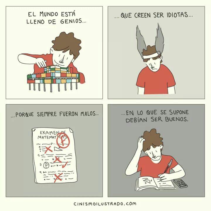 ilustración de parodia acerca de los genios según Eduardo Salles