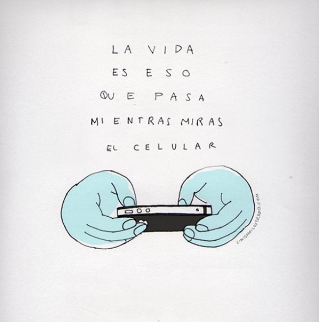 ilustración sátira acerca del uso del celular en la actualidad