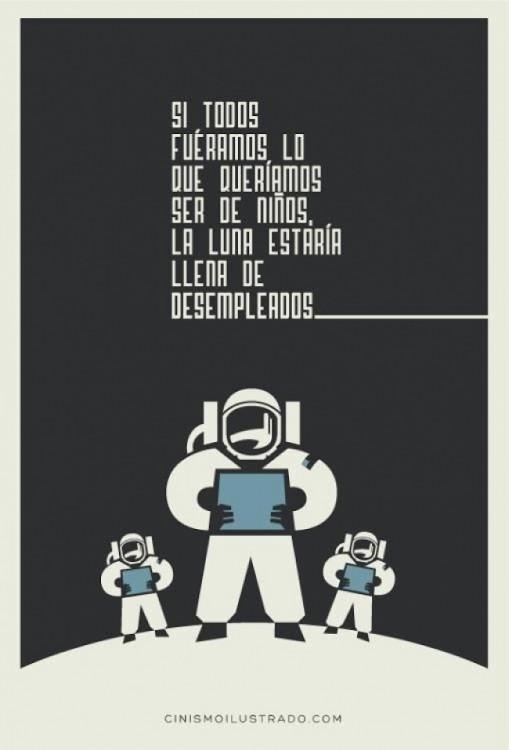 Ilustración de 3 personas en la luna vestidos de astronautas
