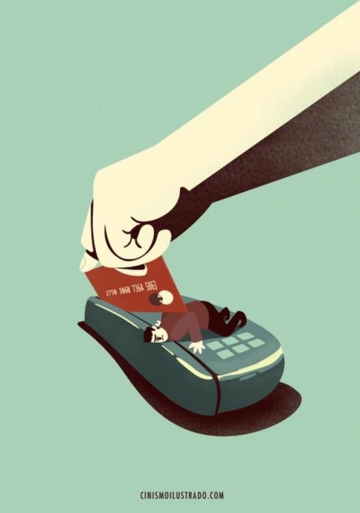 ilustración de una persona que es decapitada por una tarjeta de crédito