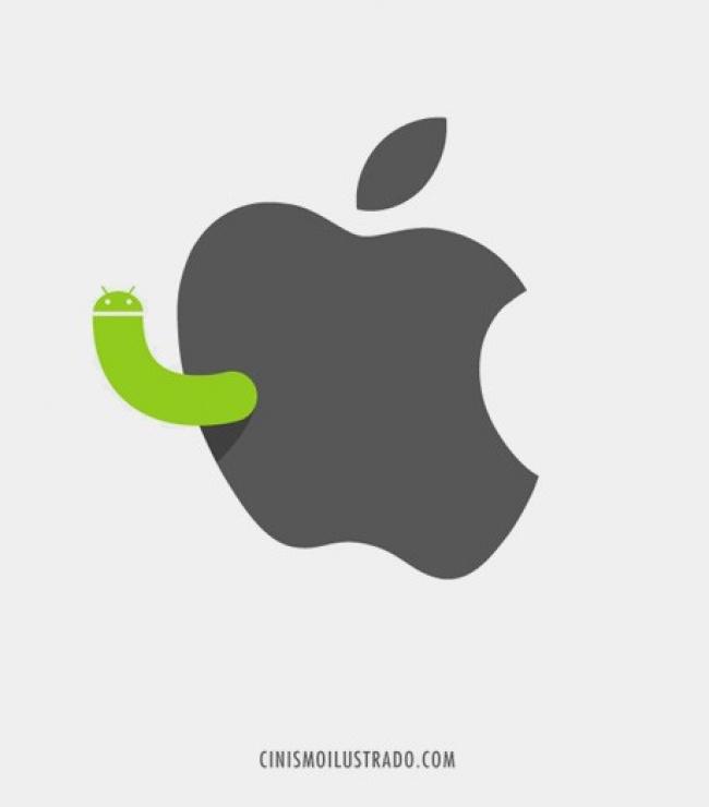 icono de una manzana mordida con un gusano saliendo de ella