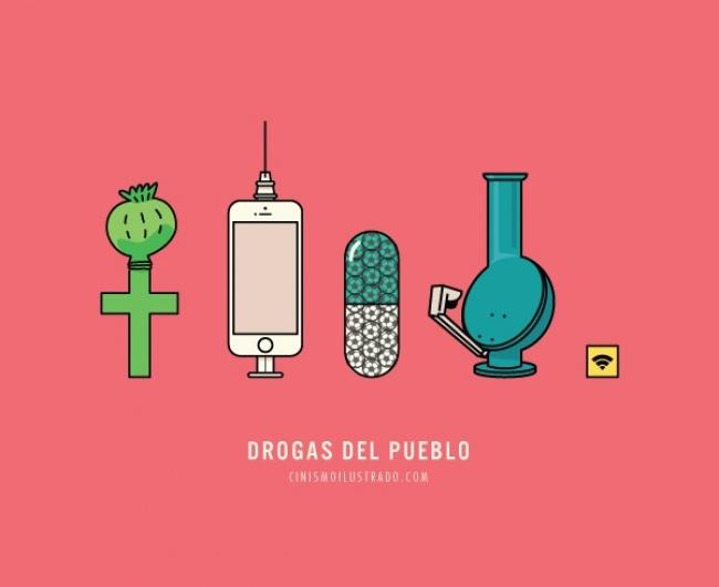 ilustración que muestra a manera de parodia las drogas de la sociedad