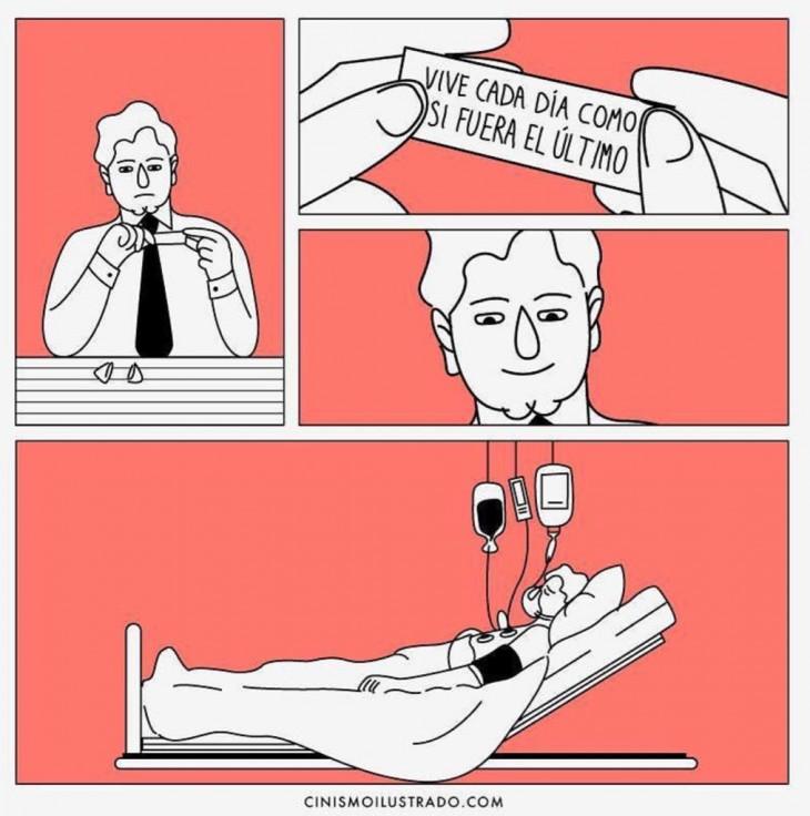 ilustración que muestra cínica-mente la manera de vivir cada día como si fuera el último