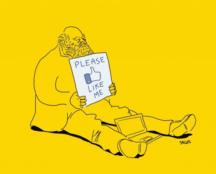 ilustración de un vagabundo pidiendo un me gusta