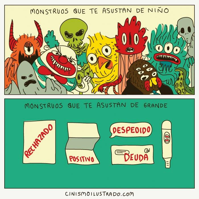 ilustración comparativa de los monstruos que le temes de niños vs a los que le temes de adulto