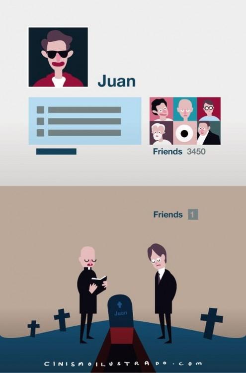 ilustración que describe lo social dentro y fuera de las redes sociales