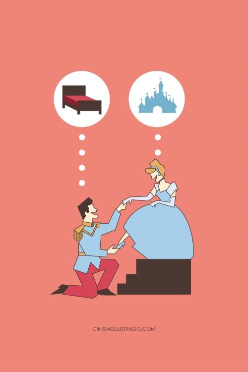 Ilustración satírica de los pensamientos de la cenicienta