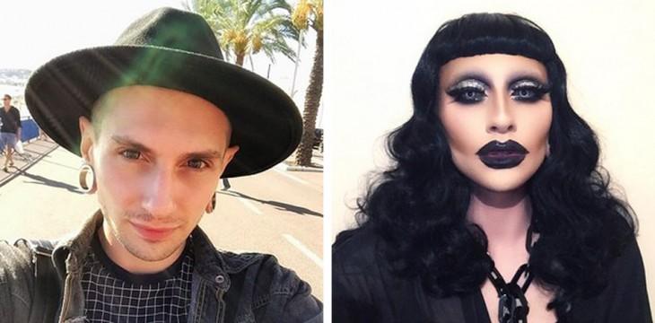 foto del antes y después de la transformación de un chico en mujer