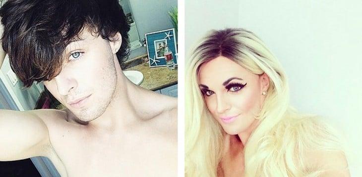 Mileena Mortality antes y después de su transformación en Drag Queen