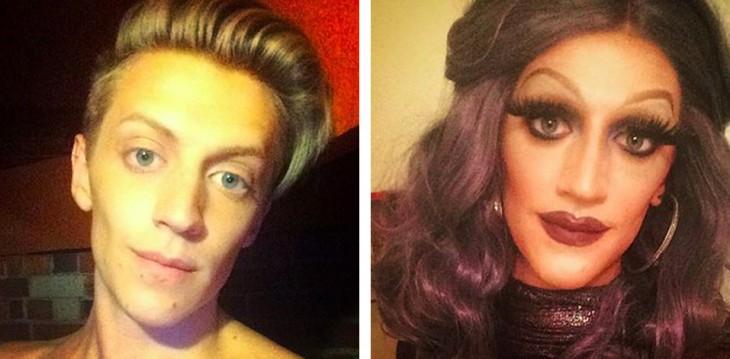 foto de la cara de un chico antes y después de vestirse como mujer