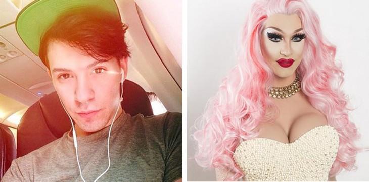 fotos del antes y después de un chico vestido de mujer