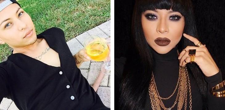 antes y después de un chico vestido de drag queen