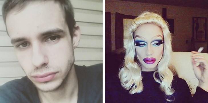 fotografía de un chico antes y después de su disfraz de Drag Queen