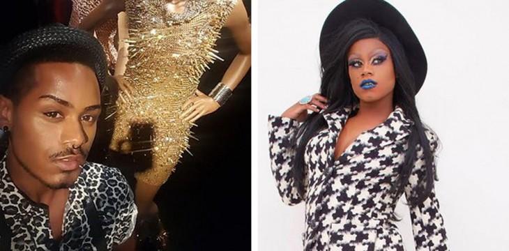 chico antes y después de su disfraz de drag queen