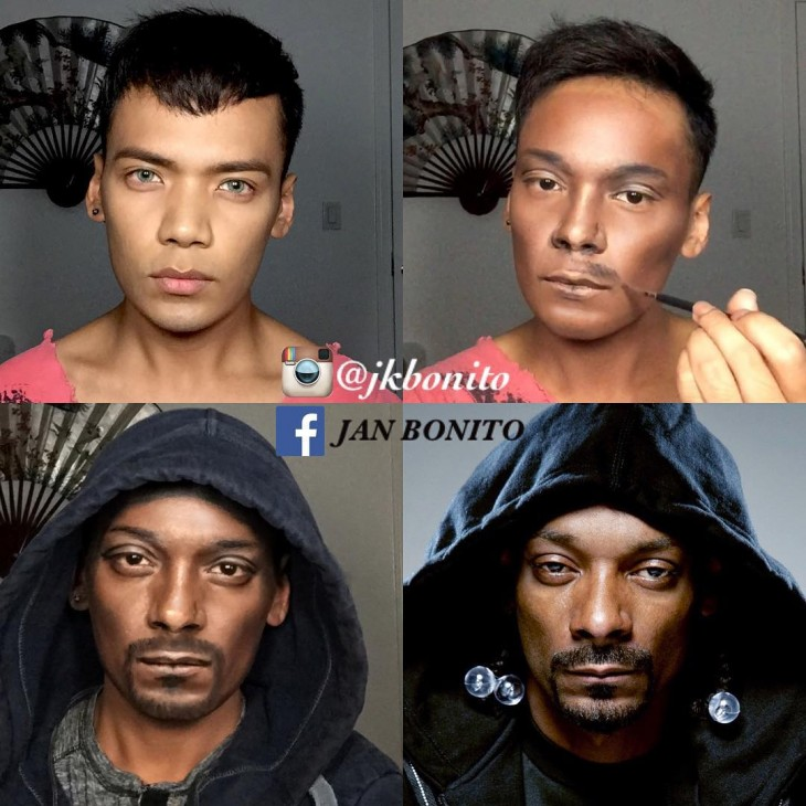 Cara de un chico que se transformo en Snoop Dogg con maquillaje