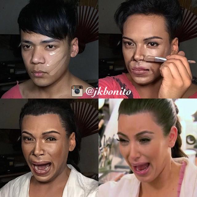 chico maquillandose para transformarse en Kim Kardashian