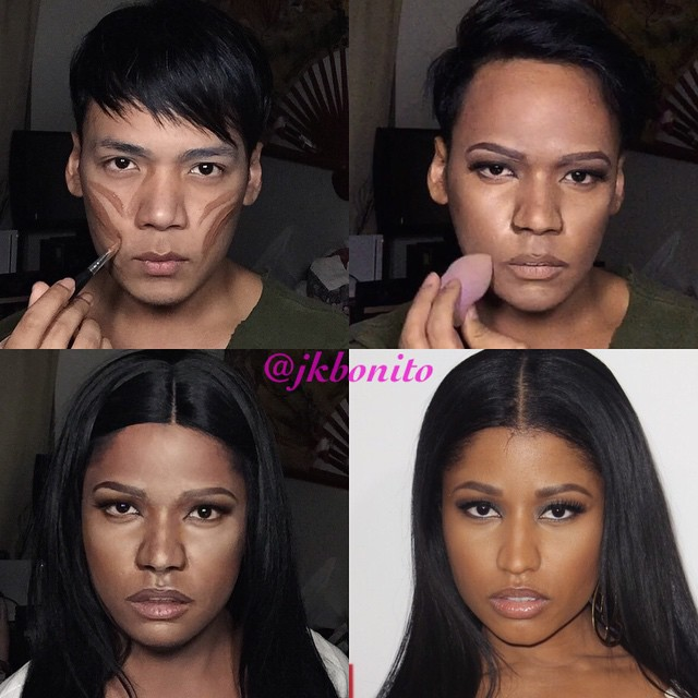 fotos de un chico transformándose en Nicki minaj