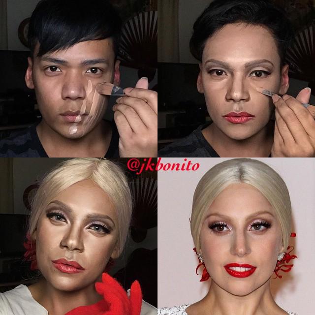 transformación con maquillaje de un chico en Lady Gaga