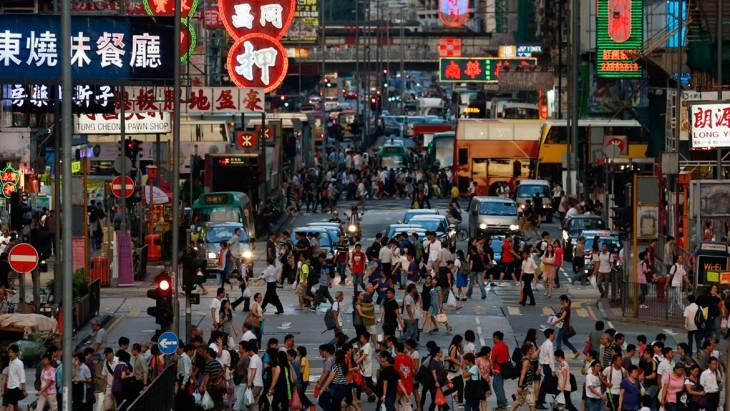 Cruce comercial en Mong Kok, Hong Kong