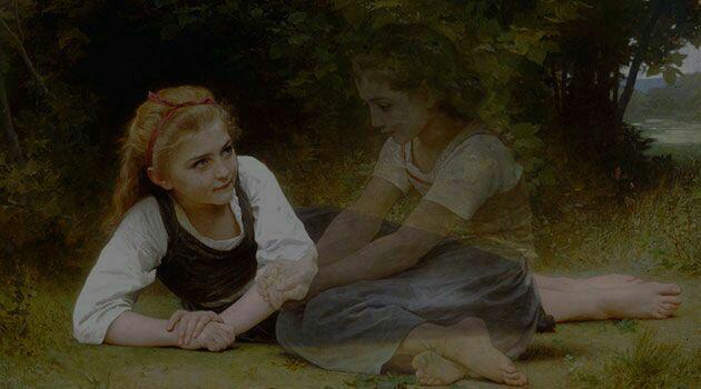 dibujo de una chica acostada en el suelo platicando con su amiga imaginaria