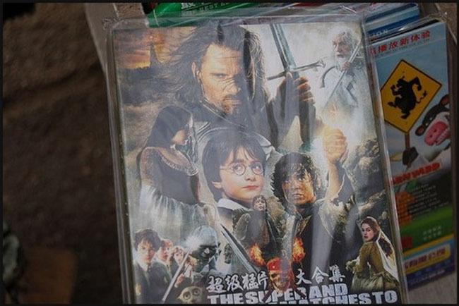 portada de una película que fusiona el señor de los anillos, harry potter y los piratas del caribe