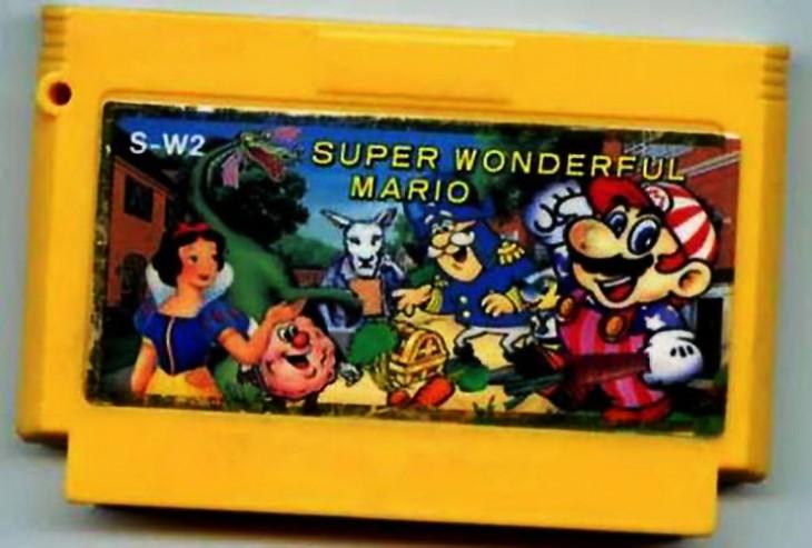 cartucho de un juego de Mario Bros donde aparece Blanca Nieves