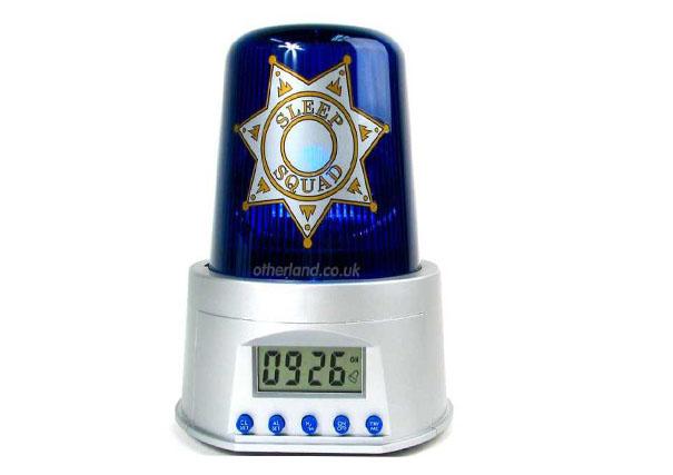 reloj en forma de una sirena de policía