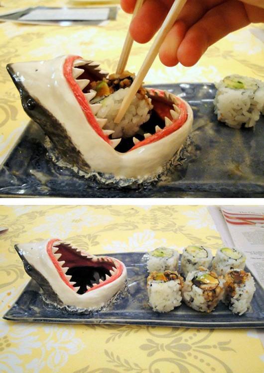 salsero para suchi en forma de tiburón