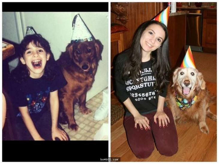 perro de 15 años festejando su cumpleaños