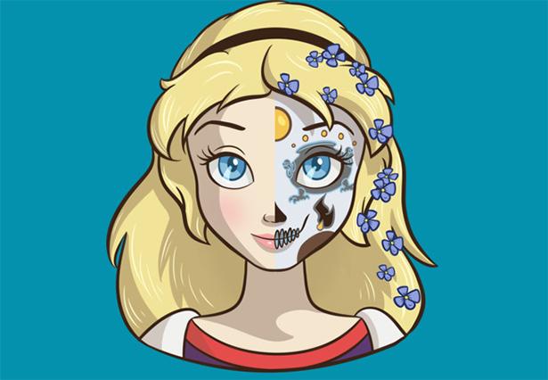 princesa maquillada de catrina