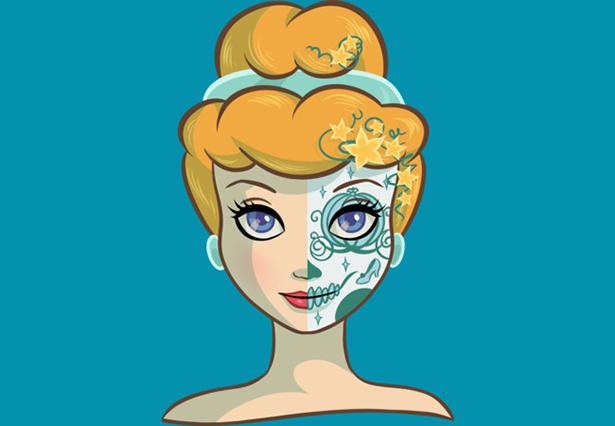 Cinderella vestida de catrina