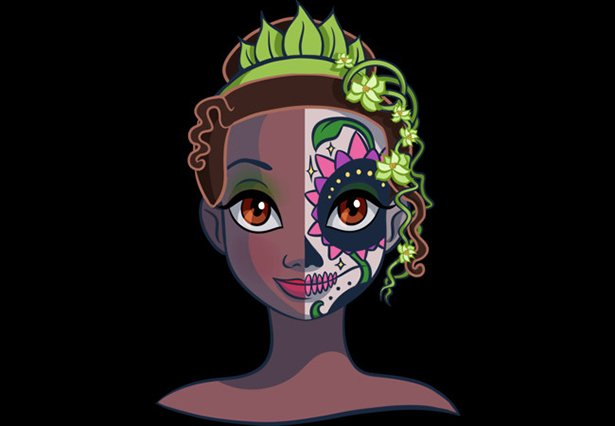 tiana maquillada de catrina