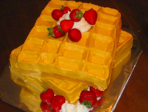 pastel en forma de wafles