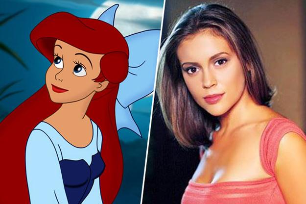 imagen de ariel junto a la imagen de la actriz Alyssa Milano