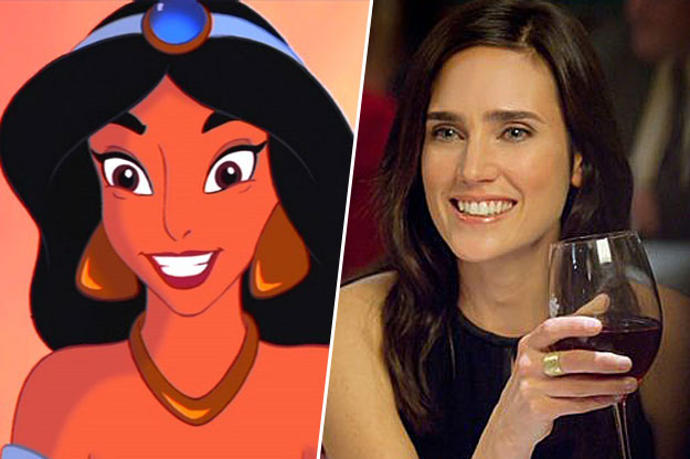 Jasmine de aladdin junto a una imagen de Jennifer Connelly