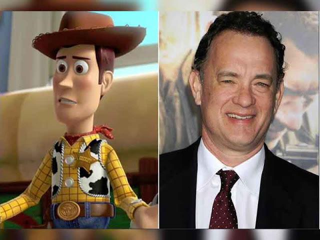 imagen dividida en dos con woody y el actor tom hanks