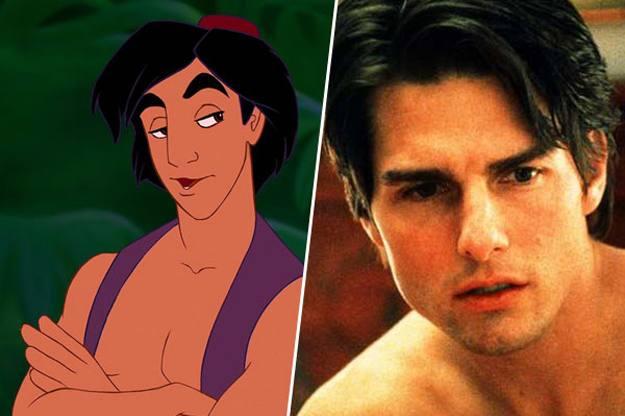 Personaje de aladdin a un costado de la imagen de Tom Cruise