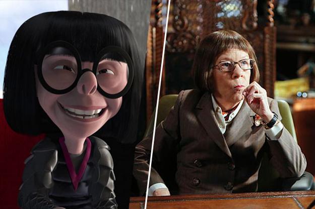 Edna moda de los increíbles junto a la actriz Linda Hunt