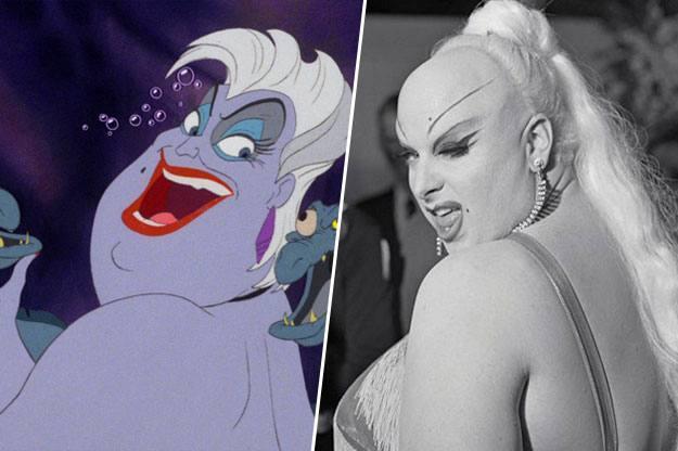 imagen donde muestra a úsrsula de la sirenita a lado de una foto de divine milstead la drag queen norteamnericana