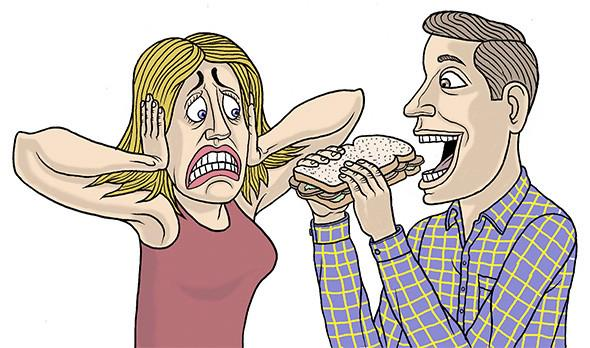 dibujo de una mujer tapando sus oídos frente a un chico a punto de comer un sandwich