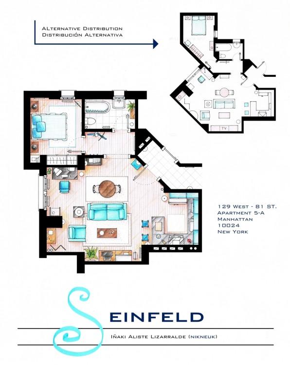 Plano del departamento de Jerry Seinfeld en Seinfeld