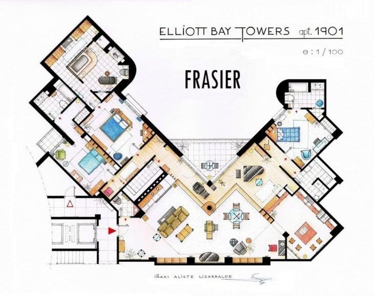 plano de la casa de la serie Frasier