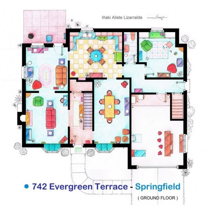 plano de la casa de los Simpsons
